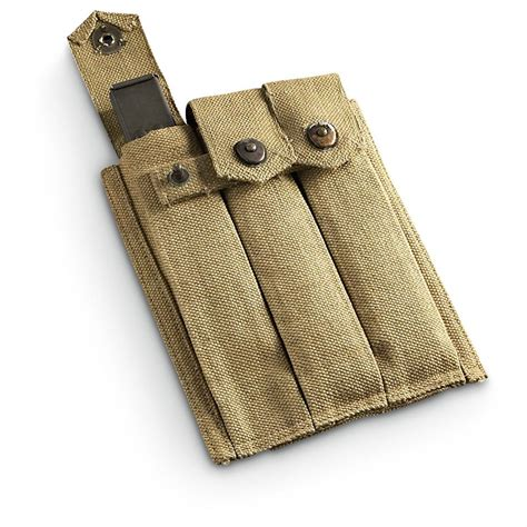 reproduction u s wwii thompson 3 cell mag pouch khaki 197871 gun mags