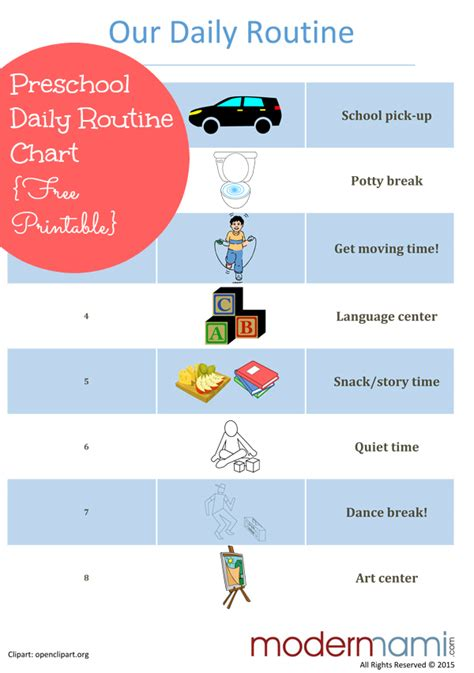 sample afternoon routine for preschoolers free printable 968 | afternoon routine for preschoolers modernmami