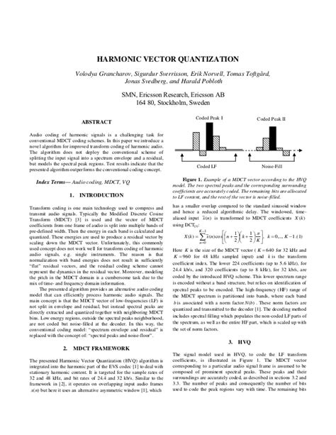 Harmonic vector quantization