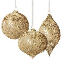 set of six gold vintage glass christmas ornaments with glitter frontgate chr traditional