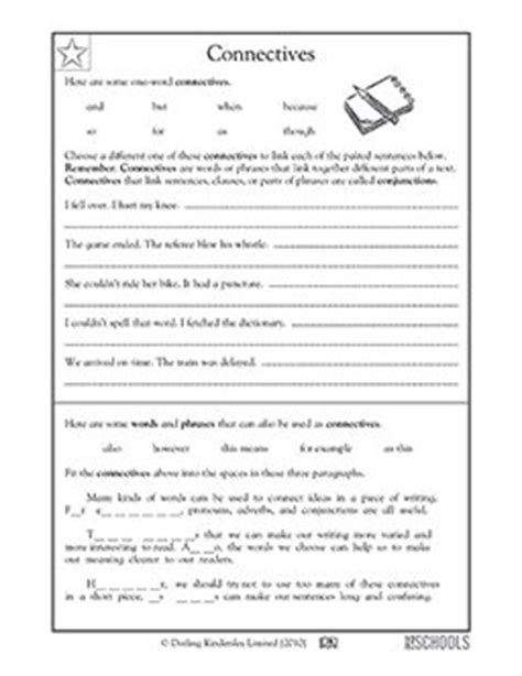 3rd grade 4th grade writing worksheets connectives