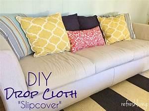Photos diy slipcover no sew mediasuploadcom for Sectional sofa slipcovers diy