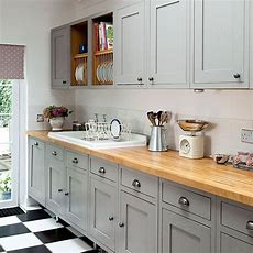 Grey Shakerstyle Kitchen With Wooden Worktop  Decorating