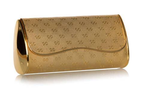 gucci gold metal logo hard shell clutch minaudiere bag   stdibs