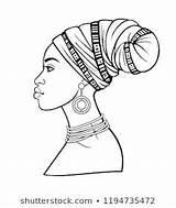 African Turban Animation Drawing Afrikaanse Portrait Jonge Young Animatieportret Tulband Vrouw Mulher Mening Profiel Africana Coloring Reeks Shutterstock Desenhos Portretten sketch template