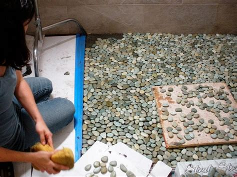lay  pebble tile floor  tos diy