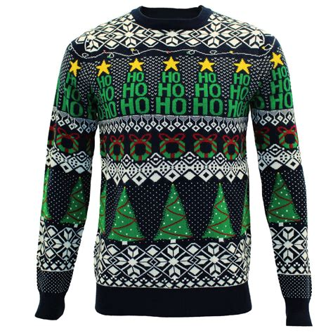 mens novelty light up christmas tree pullover jumper