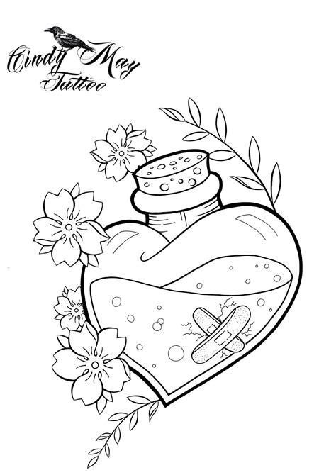 Heart vial tattoo..... | Love coloring pages, Wonderland