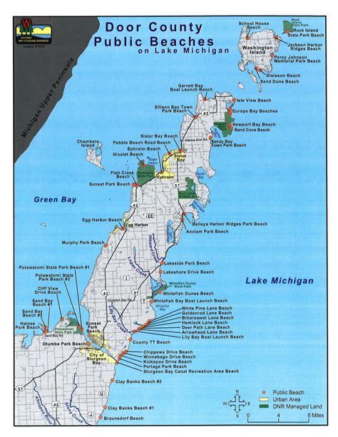 door county wisconsin map beaches in door county