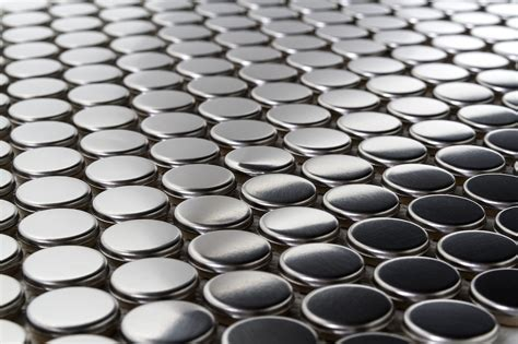 $15sf Penny Round Metal Mosaic Stainless Steel Tiles