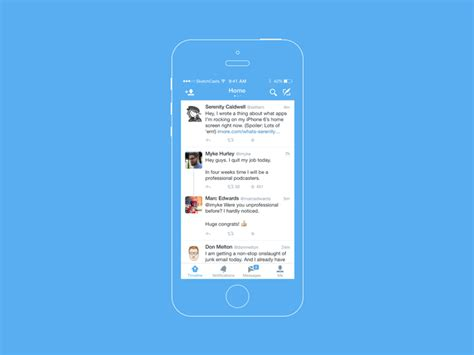 twitter home screen template twitter for ios sketch freebie download free resource
