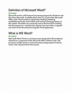 Definition Of Microsoft Word   Answer