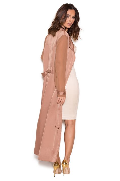 Clothing  Jackets  u0026#39;Corynu0026#39; Rose Gold Silky Duster Coat