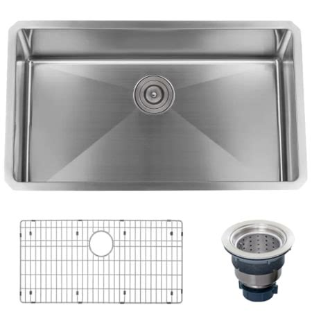 kitchen sink assembly miseno mno163219sr 16 stainless steel 32 quot undermount single basin stainless steel kitchen 2566