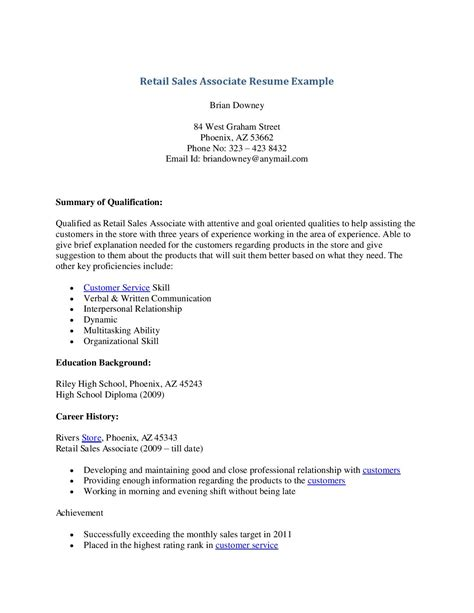 Retail Objective Resume Exles by Objective For Resume Sales Associate Writing Resume