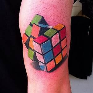 8 Fun & Trippy Rubik's Cube Tattoos   Tattoodo