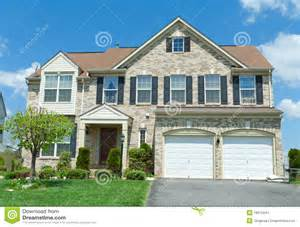 single house front brick faced single family house suburban md stock images image 18915544