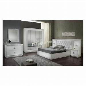 chambre a coucher complete model kristel blanc achat With model chambre a coucher
