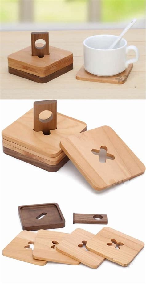 wood coaster set    holder woodworking wood