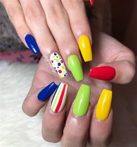 Coffin nails are not that scary after all! Colorful nails coffin - New Expression Nails