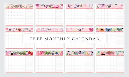 vertical monthly calendar flowers  printable home