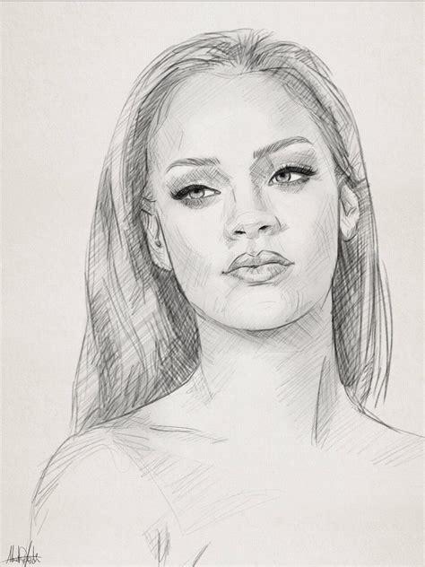 pencil sketch drawing portrait  rihanna  ahmad kadi