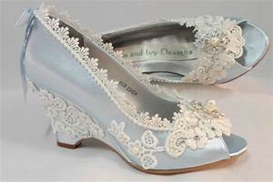 Light Blue Wedding Wedges, Lace Wedge, Bridal Peeptoe ...