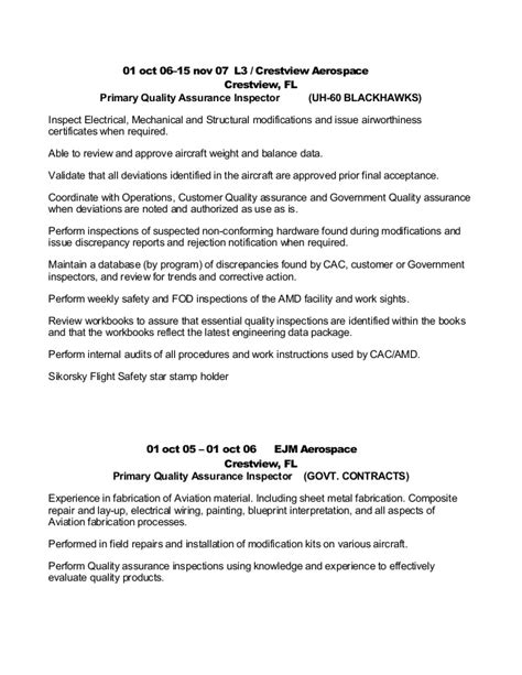 Aerospace Quality Inspector Resume by Aviation Resume 12 15 15