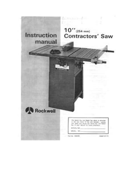rockwell table saw manual table saw rockwell 10 inch contractor saw table saw 1979