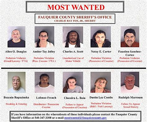 """New """"10 Most Wanted"""" List From Sheriff's Office"""
