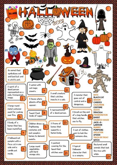 halloween definitions interactive worksheet