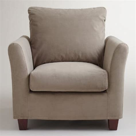 World Market Luxe Chair Cover by Gray Mink Velvet Luxe Chair Slipcover World Market