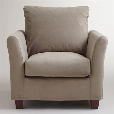 gray mink velvet luxe chair slipcover world market