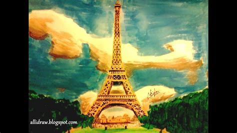 eiffel tower painting making   sketch  youtube