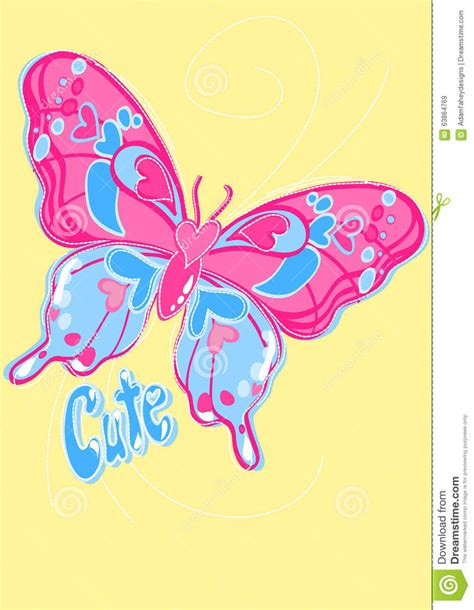 cute butterfly embroidery   yellow background stock