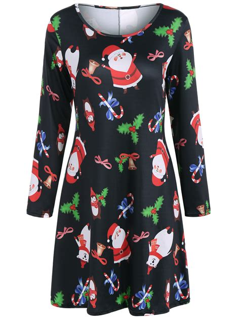 long sleeve santa christmas dress in black sammydress com