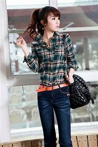 With Leather Montage Check Shirt for Women Long Sleeve ...