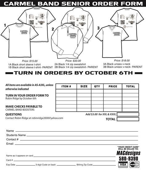 senior shirt order form  carmel bands