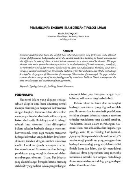 PEMBANGUNAN EKONOMI ISLAM DENGAN TIPOLOGI ILMIAH by MAQDIS