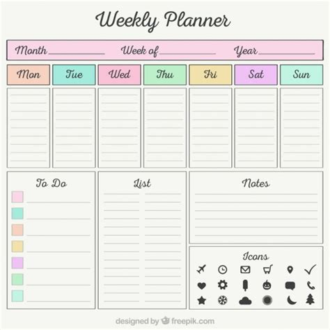 monthly bill organizer notebook weekly planner with organizer elements vector free download