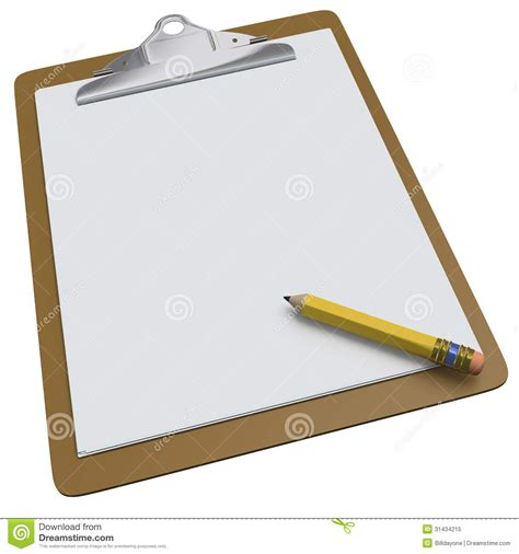 clipboard and pen clipart clipboard with blank white page and pencil stock