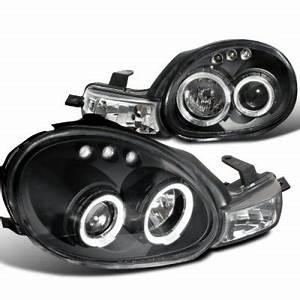 Dodge Neon 2000 2002 Black Dual Halo Projector Headlights