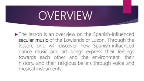 When and where do you like listening to music? Secular music with spanish influence