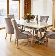 Dining Table With Six Chairs by Renata Marble And Chrome Dining Table And 6 Silver Louis Chairs
