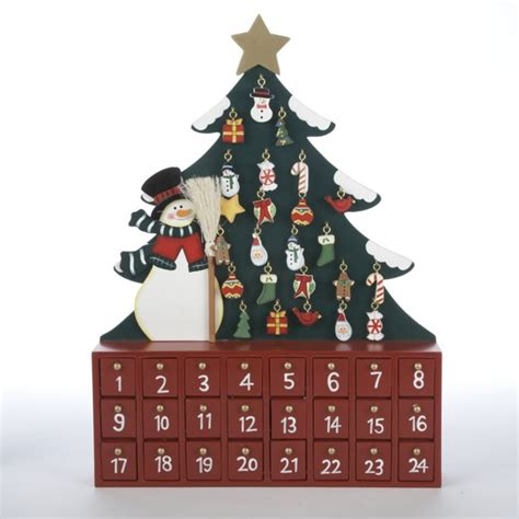 snowman and christmas tree wooden christmas advent