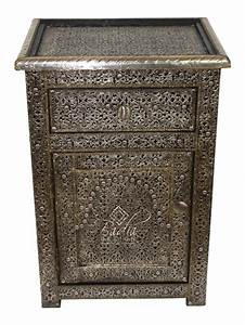 Moroccan, Silver, Nickel, Nightstand, With, Glass, Top, From, From, Badia, Design, Inc