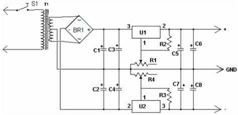 dual polarity power supply circuit diagram  circuit