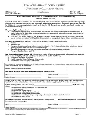 Some forms and publications are translated by the department in other languages. Fillable Online ofas uci Enrollment Verification For Family Member Form - Office of Financial ...