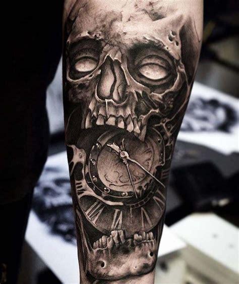 grey skull tattoo clockface  tattoo ideas gallery
