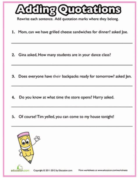 Quotation Marks Quiz #2  Worksheet Educationcom